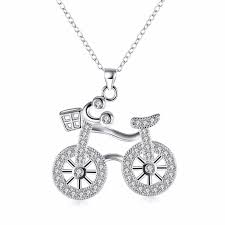 personalized necklaces for women free shipping fashion 925 sterling silver jewelry creative bicycle