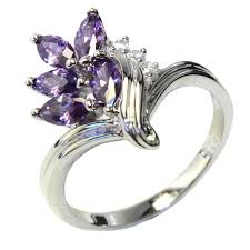 Flower Wedding Ring by Purple Flower Ring Beautiful Promise Rings