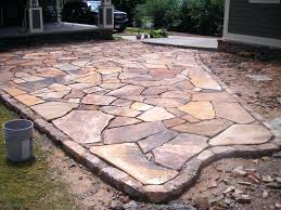 Rock Patio Design Flagstone Design Ideas Landscaping With Pea Gravel Flagstone With
