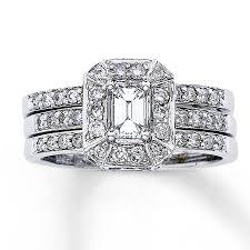 emerald cut wedding set jared diamond bridal set 1 1 4 ct tw emerald cut 14k white gold