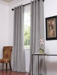 Light Grey Drapes Threshold Banded Faux Silk Window Panel 54
