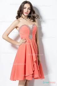 beaded illusion plunge neck orange chiffon strapless prom dress