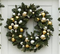 outdoor ornament pine wreath garland gold silver pottery