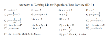 writing liner equations test review answers use