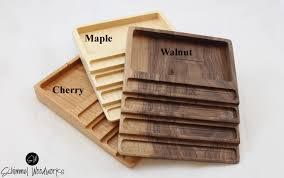 maple cherry or walnut wood pen tray with desk organizer