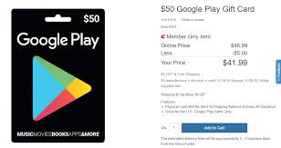 play gift card discount deal alert costco members can get a 50 play store gift card for