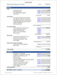 Excel Balance Sheet Template Free Personal Financial Statement For Excel