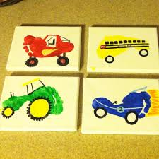 monster truck bus tractor and race car footprint art for