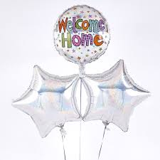 welcome home balloon bouquet welcome home silver holographic balloon bouquet inflated free