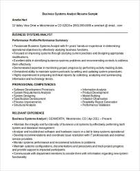 Systems Analyst Resume Sample by 10 Business Analyst Cv Templates Free Samples Examples Format