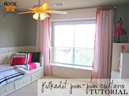 Hanging Curtains High And Wide Designs Polkadot Pom Pom Curtains Tutorial