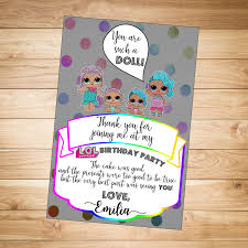 thank you card lol surprise dolls rainbow thank you note by