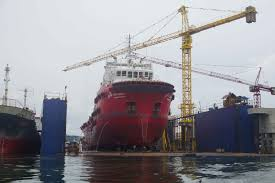transko andalas offshore tug supply ship in floating dock at