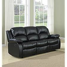 Amazoncom Bonded Leather Double Recliner Sofa Living Room - Leather 3 seat sofa