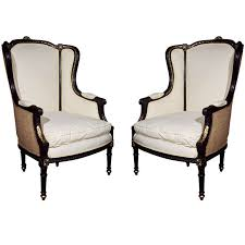 French Wingback Chair Pair Of French Louis Xvi Style Wing Back Bergere Chairs At 1stdibs