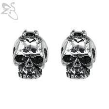 skull stud earrings skeleton ear studs earring jewelry stainless steel