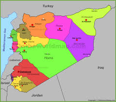 syria on map syria political map