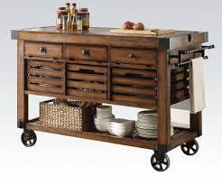 kitchen island or cart acme 98184 kaif distressed chestnut finish wood and black metal