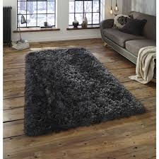 Thick Pile Rug Buy Polar Pl95 Charcoal Thick Shaggy Rug Therugshopuk