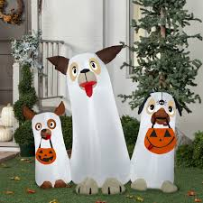 airblown inflatable ghost dogs trio scene self inflates halloween