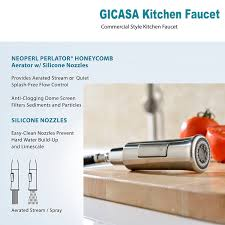 gicasa high arch brass single handle pull out sprayer kitchen sink