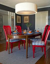 Red Dining Room Sets Grey Carpet And White Drum Pendant Lamps For Small Dining Room