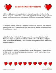 valentine word problems worksheet education com