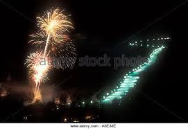 vermont new years torch light skiing stock photos torch light skiing stock images