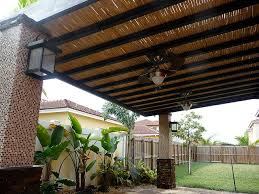Bamboo Patio Cover Custom Bamboo Pergola With Built In Ceiling Fans Pergolas