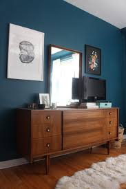 mid century moody bedroom and a new old dresser dark teal