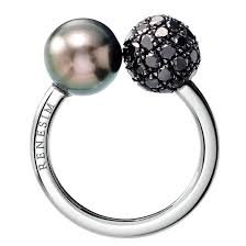 vintage cocktail renesim tahitian pearl u0026 black diamond pave sphere ring tahitian