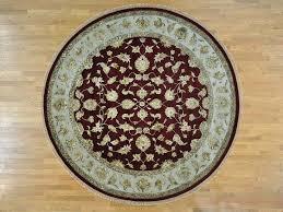 10 u0027 x 10 u0027 round burgundy rajasthan wool and silk handmade oriental