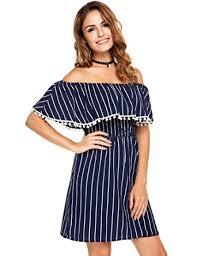 casual dress zeagoo women s casual shoulder striped ruffles strapless