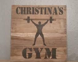 home gym wall decor barnwood custom personalized sign for gym wall decor sign rustic