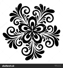 black and white lace flowers leaves isolated on floral design