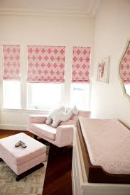 Blackout Roman Shades Kids Girls Nursery With Roman Shades In Christopher Farr Venecia Pink