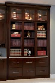 Cherry Wood Bookcase With Doors Brown Wooden Bookcase With Drawers On Bottom With Bars Ornament On