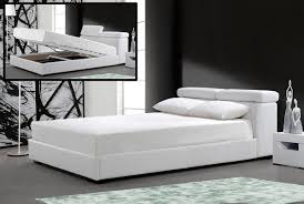 White Leather Platform Bed White Leather Bed W Storage