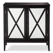 Black Storage Cabinet With Doors Wooddale Two Door Mirrored Storage Cabinet Black Threshold Target