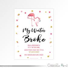 my water baby shower flamingo my water sign pink and gold dots baby shower