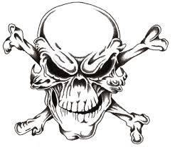 skull and cross bones stencil drawing just free image