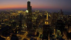 city of chicago red light settlement chicago august 18 aerial sunset illuminated city view downtown