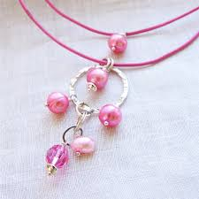 swarovski necklace leather images Petal necklace pink freshwater pearls swarovski crystal jpg