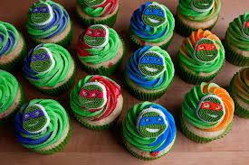 teenage mutant ninja turtles cupcakes with sprinkles on top
