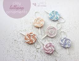 clay lollipop ornaments lines across
