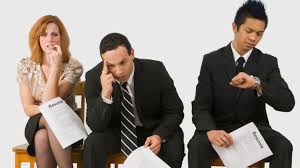Job Interview Resume Questions by Three Nervous People Waiting For Interview Stock Foundry Design