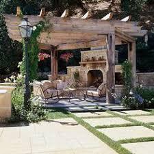 Large Brick Patio Design With 12 X 16 Cedar Pergola Outdoor by Large Brick Patio Design With Outdoor Fireplace 12 X 16 Cedar
