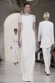 ready to wear long white evening dress at new york fashion show