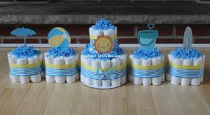 set of 5 beach theme diaper cakes sunshine pail beach ball