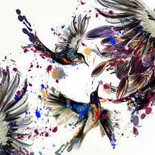 background of pretty birds with illustrated flowers and splashes